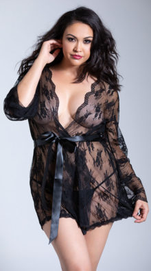 Photo of Plus Size Lace Robe with Butterfly Sleeves @EX4.NL Exclusive Lingerie