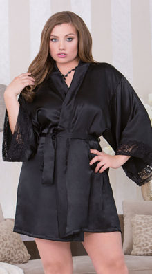 Photo of Plus Size Black Lace and Satin Robe @EX4.NL Exclusive Lingerie