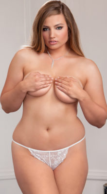 Photo of Plus Size Flirty Scallop Lace G-string @EX4.NL Exclusive Lingerie