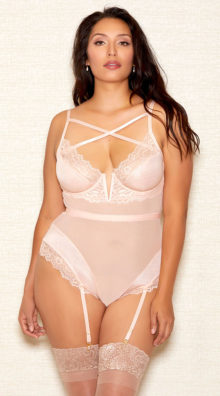 Photo of Plus Size Glittering Champagne Teddy @EX4.NL Exclusive Lingerie
