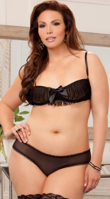 Photo of Plus Size Fringed Cupless and Crotchless Bra Set @EX4.NL Exclusive Lingerie