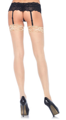 Photo of Lace Top Sheer Stockings with Backseam @EX4.NL Exclusive Lingerie