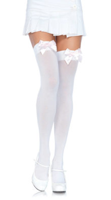 Photo of Plus Size Thigh High Nylon Stockings w/ Bow @EX4.NL Exclusive Lingerie