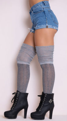 Photo of Cozy Patterned Thigh High Stockings @EX4.NL Exclusive Lingerie