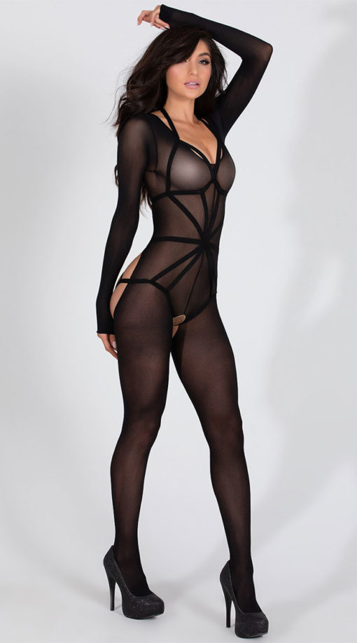 Photo of Long Sleeved Bodystocking with Illusion Cage Teddy @EX4.NL Exclusive Lingerie