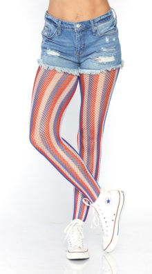 Photo of Americana Striped Fishnet Tights @EX4.NL Exclusive Lingerie