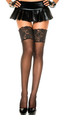Photo of Sheer Thigh High with Wide Lace Top @EX4.NL Exclusive Lingerie