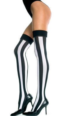 Photo of Opaque Vertical Striped Thigh Highs @EX4.NL Exclusive Lingerie