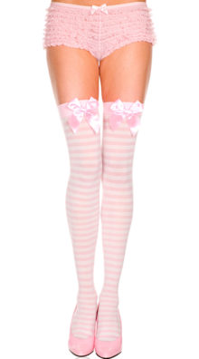 Photo of Opaque Striped Thigh High with Bow @EX4.NL Exclusive Lingerie