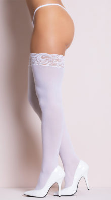 Photo of Opaque Thigh Highs with Lace Top @EX4.NL Exclusive Lingerie