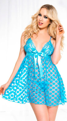 Photo of Mesh Polka Dot Babydoll Set @EX4.NL Exclusive Lingerie