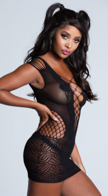 Photo of Black Fishnet Chemise With Deep V @EX4.NL Exclusive Lingerie