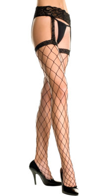 Photo of Fence Net Thigh High Stockings With Garterbelt @EX4.NL Exclusive Lingerie