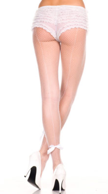 Photo of Satin Bow Seamed Fishnet Pantyhose @EX4.NL Exclusive Lingerie