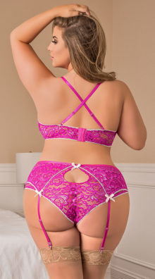 Photo of Plus Size Dreamy Pink Gartered Bra Set @EX4.NL Exclusive Lingerie