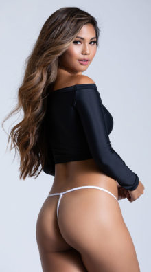 Photo of Embellished White Lace G-String @EX4.NL Exclusive Lingerie