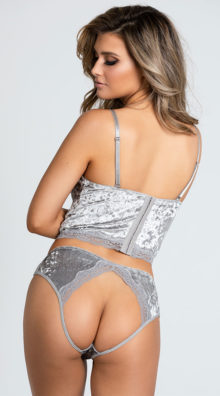 Photo of Plus Size Crushed Velvet Be With Me Bustier Set @EX4.NL Exclusive Lingerie