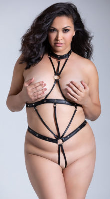Photo of Plus Size Seducer Open Cup Strappy Teddy @EX4.NL Exclusive Lingerie