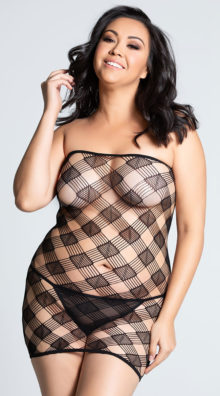 Photo of Plus Size Checkered Tube Dress @EX4.NL Exclusive Lingerie