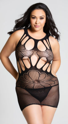 Photo of Plus Size Seamless Floral Mesh Chemise @EX4.NL Exclusive Lingerie