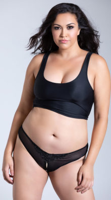 Photo of Plus Size Crotchless Pearl Thong @EX4.NL Exclusive Lingerie