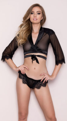 Photo of Cropped Eyelash Lace Robe Set @EX4.NL Exclusive Lingerie