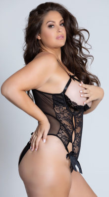 Photo of Plus Size Open Cup Mesh and Lace Tie Teddy @EX4.NL Exclusive Lingerie