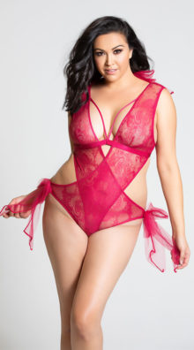 Photo of Plus Size Tulle Bows Lace Teddy @EX4.NL Exclusive Lingerie