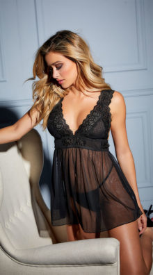 Photo of Nora Lace Empire Babydoll Set @EX4.NL Exclusive Lingerie