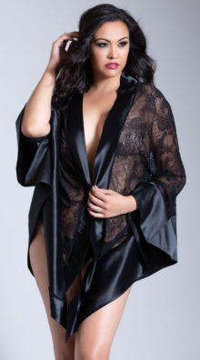Photo of Plus Size Roxanne Satin and Lace Robe @EX4.NL Exclusive Lingerie