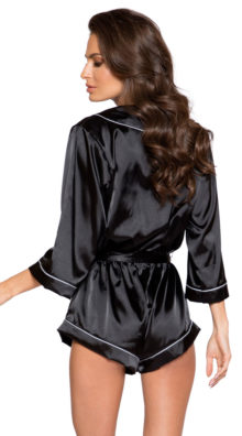 Photo of Collared Black Sweet Dreams Satin Romper @EX4.NL Exclusive Lingerie