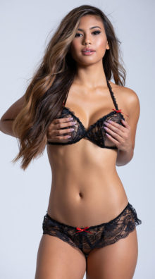Photo of Lace Peek A Boo Bra And Crotchless Panty @EX4.NL Exclusive Lingerie