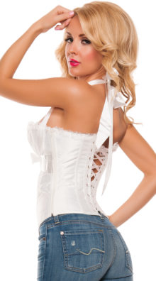 Photo of Plus Size Ruched Satin Halter Corset Sexy Satin Top @EX4.NL Exclusive Lingerie