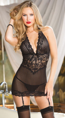 Photo of Pinstripe Chemise Set @EX4.NL Exclusive Lingerie