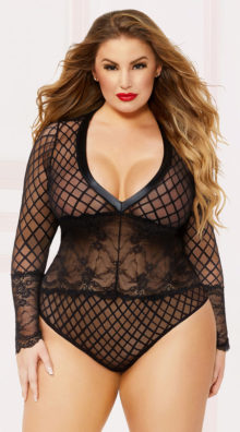 Photo of Plus Size Geometric Mesh and Lace Teddy @EX4.NL Exclusive Lingerie