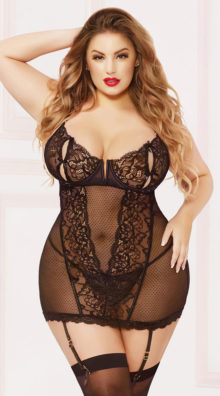 Photo of Plus Size On Point Mesh and Lace Chemise Set @EX4.NL Exclusive Lingerie