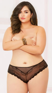 Photo of Plus Size Lace And Net High Waisted Thong @EX4.NL Exclusive Lingerie