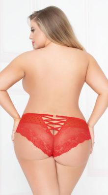 Photo of Plus Size Sheer Dot Cheeky Panty @EX4.NL Exclusive Lingerie