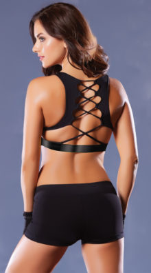 Photo of Lace-Up Microfiber Sports Bra @EX4.NL Exclusive Lingerie