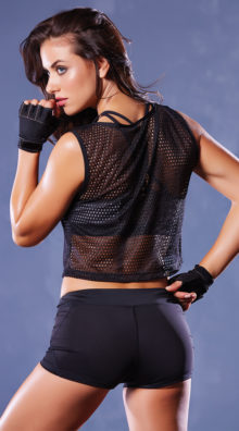Photo of Athletic Fishnet Cropped Tank @EX4.NL Exclusive Lingerie