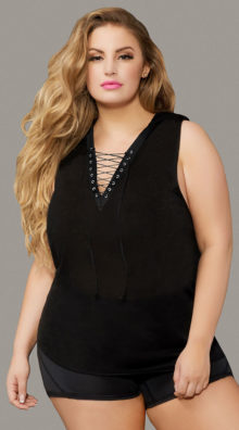 Photo of Plus Size Textured Rayon Hooded Tank Top @EX4.NL Exclusive Lingerie