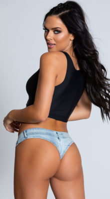 Photo of Cheeks Denim Light Wash Thong Short @EX4.NL Exclusive Lingerie