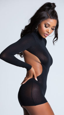 Photo of Long Sleeve Backless Mini Dress @EX4.NL Exclusive Lingerie