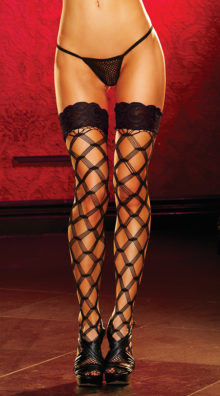 Photo of Lace Top Large Net Pattern Stockings @EX4.NL Exclusive Lingerie