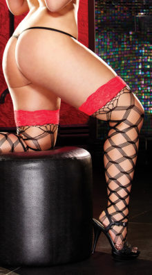 Photo of Plus Size Lace Top Large Net Pattern Stockings @EX4.NL Exclusive Lingerie