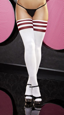 Photo of Red Striped Thigh High Sock @EX4.NL Exclusive Lingerie