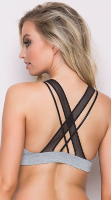 Photo of EX4 Grey Multi-Strapped Sports Bra @EX4.NL Exclusive Lingerie