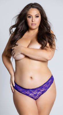 Photo of EX4 Plus Size Ruffled Lace Thong Panty @EX4.NL Exclusive Lingerie