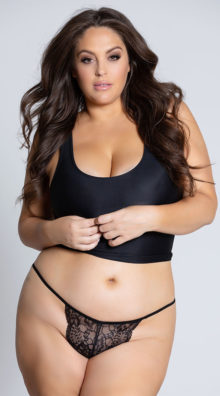 Photo of EX4 Plus Size Lace Thong with Keyhole Opening @EX4.NL Exclusive Lingerie